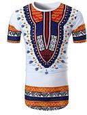 ieftine Maieu & Tricouri Bărbați-Bărbați Rotund Tricou Bumbac De Bază - Bloc Culoare Imprimeu / Manșon scurt