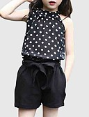 cheap Women's Jumpsuits & Rompers-Kids Girls' Active Daily / Going out Polka Dot Sleeveless Regular Polyester Clothing Set Black