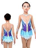 cheap Ice Skating Dresses , Pants & Jackets-Rhythmic Gymnastic Leotard Women's / Girls' Dress Sky Blue Elastic High Elasticity Performance Lightweight, Breathable, Quick Dry Long Sleeve Ballet / Dance / Performance / Ice Skating