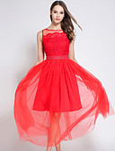 זול שמלות נשים-עד הברך תחרה / Ruched / רשת, אחיד - שמלה סווינג וינטאג' / סגנון רחוב בגדי ריקוד נשים