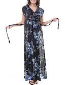 رخيصةأون فساتين طويلة-نسائي بسيط نحيل بنطلون - ورد أزرق / طويل للأرض / V رقبة