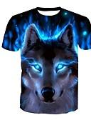 preiswerte Herren T-Shirts & Tank Tops-Herrn Tier - Punk & Gothic Street Schick Bluse Wolf