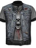 baratos Jaquetas & Casacos para Homens-Homens Camiseta Caveira Exagerado Estampado, Estampa Colorida Caveiras