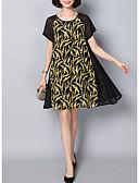 baratos Vestidos Plus Size-Mulheres Rodado Vestido Floral Altura dos Joelhos