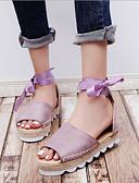 preiswerte Damen Leggings-Damen Schuhe Stoff / PU Sommer Komfort Sandalen Flacher Absatz Violett / Rosa / Khaki