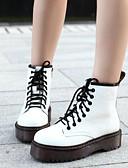 cheap Women's Nightwear-Women's Shoes PU(Polyurethane) Fall & Winter Comfort Boots Flat Heel Booties / Ankle Boots White / Black / Burgundy