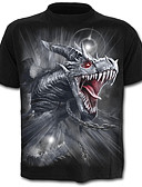 cheap Men's Tees & Tank Tops-Men's Street chic / Exaggerated Plus Size Cotton T-shirt - Color Block / Animal Dragon, Print / Short Sleeve