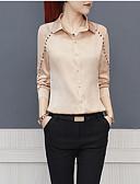 preiswerte Bluse-Damen Solide - Grundlegend Arbeit Bluse, Hemdkragen Schlank Perlenbesetzt / Patchwork / mit Schnürung