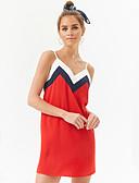 tanie Sukienki-Damskie Bawełna Szczupła Spodnie - Solidne kolory / Kolorowy blok Odkryte plecy Czerwony / Pasek / Głęboki dekolt w serek / Wyjściowe / Seksowny