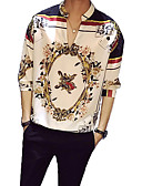 cheap Men's Jackets & Coats-Men's Shirt - Floral Print Standing Collar