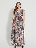 رخيصةأون فساتين نسائية-فستان نسائي قياس كبير متموج بوهو طويل للأرض ورد خصر عالي V رقبة