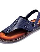 cheap Men's Tees & Tank Tops-Men's Nappa Leather Summer Comfort Sandals Dark Blue / Yellow / Dark Brown