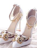 お買い得  イブニングドレス-女性用 靴 PUレザー 夏 アイデア / ベーシックサンダル ウェディングシューズ スティレットヒール ポインテッドトゥ ラインストーン / リボン / ベックル ホワイト / 結婚式 / パーティー