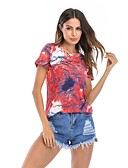 billige Topper til damer-T-skjorte Dame - Fargeblokk, Trykt mønster Aktiv