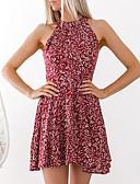 baratos Blusas Femininas-Mulheres Moda de Rua Bainha Vestido - Frente Única, Floral Mini