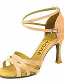 ieftine Salopete Damă-Pentru femei Pantofi Dans Latin / Pantofi Salsa Satin Sandale / Călcâi Cataramă / Legătură Panglică Toc Personalizat Personalizabili Pantofi de dans Bronz / Migdală / Culoarea pielii / Performanță