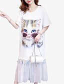 ieftine Rochii de Damă-Pentru femei Shift Rochie Lungime Genunchi Pisica