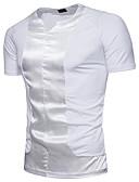 tanie Koszulki i tank topy męskie-T-shirt Męskie Podstawowy Bawełna W serek Szczupła - Solidne kolory / Kolorowy blok / Krótki rękaw