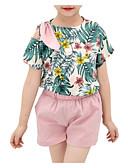 ieftine Neopren-Copii Fete Activ Floral Imprimeu Manșon scurt Bumbac Set Îmbrăcăminte