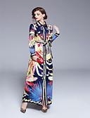 cheap Wedding Slips-Women's Daily Vintage Maxi Swing Dress - Geometric Print Shirt Collar Summer Rainbow L XL XXL