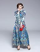 cheap Women's Dresses-Women's Daily Basic Maxi Swing Dress - Geometric Print Shirt Collar Summer Rainbow L XL XXL