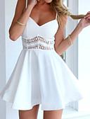 baratos Vestidos de Festa-Mulheres Feriado Boho / Moda de Rua Delgado Vestido - Estampado, Sólido / Floral Decote V / Com Alças Mini / Acima do Joelho / Verão