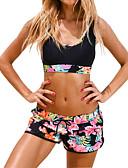 preiswerte Bikinis und Bademode 2017-Damen Sportlicher Look Blumen Sport Schwarz Junge Bein Bikinis Bademode - Blumen Druck L XL XXL