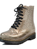 cheap Men's Pants & Shorts-Women's Shoes Sparkling Glitter / PVC(Polyvinyl chloride) Fall & Winter Rain Boots Boots Chunky Heel Round Toe Silver / Pink / Dark Brown