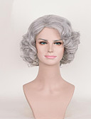 cheap Pajamas & Robes-Human Hair Lace Wig Curly Asymmetrical Haircut Synthetic Hair Cosplay Gray Wig Women's Short Capless