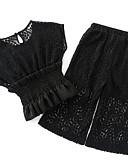 povoljno Haljine za djevojčice-Djeca Djevojčice Aktivan Izlasci Jednobojni / Geometrijski oblici Izrezati / Drapirano / Print Kratkih rukava Pamuk Komplet odjeće
