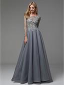 זול שמלות נשף-גזרת A סירה רחב עד הריצפה אורגנזה / טול נשף רקודים / ערב רישמי שמלה עם חרוזים / אפליקציות על ידי TS Couture®
