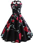 olcso Női ruhák-Női Vintage Swing Ruha - Nyomtatott, Virágos Térdig érő