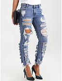 رخيصةأون فساتين للنساء-نسائي أساسي نحيل جينزات بنطلون - لون سادة فتحة أزرق فاتح