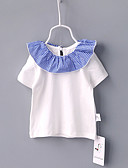 baratos Blusas para Bebês-bebê Para Meninas Estampa Colorida Manga Curta Camiseta