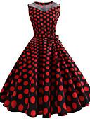 ieftine Rochii de Damă-Pentru femei Vintage Swing Rochie - Imprimeu, Buline Lungime Genunchi