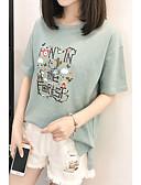 tanie T-shirt-T-shirt Damskie Podstawowy, Nadruk Solidne kolory / Zwierzę / Litera / Lato