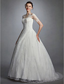 cheap Wedding Dresses-Ball Gown Illusion Neck Sweep / Brush Train Lace Made-To-Measure Wedding Dresses with Appliques by LAN TING BRIDE® / Illusion Sleeve