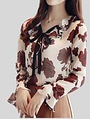 olcso Blúz-Bájos V-alakú Vékony Női Blúz - Virágos, Nyomtatott / Ősz