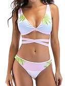 cheap Women's Swimwear & Bikinis-Women's Strap / Strapless Pink High Waist Tankini Swimwear - Geometric / Color Block Print S M L / Sexy
