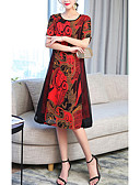 baratos Vestidos Plus Size-Mulheres Tamanhos Grandes Solto Calças - Estampa Colorida Vermelho / Feriado
