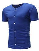 billige T-skjorter og singleter til herrer-V-hals T-skjorte Herre - Ensfarget Grunnleggende / Kortermet
