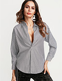 preiswerte Hemd-Damen Gestreift Ausgehen Hemd, Hemdkragen
