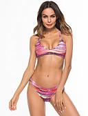 abordables Biquinis y Bañadores para Mujer-Mujer Básico Triángulo Bikini - Cruzado / Estampado, Geométrico Pícaro Hombros Caídos