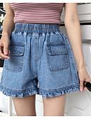 povoljno Ženski sakoi i jakne-Žene Aktivan Veći konfekcijski brojevi Pamuk Kratke hlače Hlače - Jednobojni Blue & White, Drapirano Svjetloplav