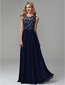 billige Todelte kjoler-A-linje Besmykket Gulvlang Chiffon / Blonder Skoleball / Formell kveld Kjole med Perlearbeid / Plissert av TS Couture®