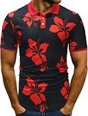 ieftine Pantaloni Bărbați si Pantaloni Scurți-Bărbați Polo De Bază - Floral / Bloc Culoare Alb negru / Negru & Roșu