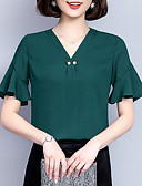 cheap Women's Dresses-women's loose blouse - solid colored v neck