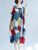 tanie Sukienki-Damskie Wyjściowe Luźna Zmiana Sukienka - Kolorowy blok Niski stan Midi