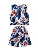 ieftine Seturi Îmbrăcăminte Fete-Copii Fete Activ Zilnic / Plajă Tropical Leaf Imprimeu Imprimeu Fără manșon Scurt Poliester Set Îmbrăcăminte Alb 100