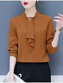 baratos Camisas Femininas-Mulheres Blusa - Para Noite / Trabalho Sólido Gola Redonda